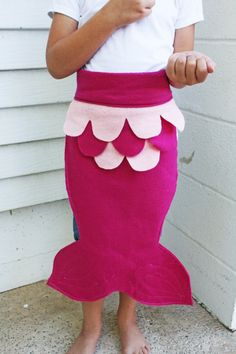 CIJ Kids Dress Up Fairy Tale Mermaid Costume Tail Pink Magenta ALL FELT Christmas in July Sale on Etsy, $17.00