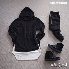 Today's top #outfitgrid is by @im.warren. #JohnElliottCo #Villian #Hoodie #FearOfGod #Tee #HM #Pants #Adidas #YeezyBoost750 by outfitgrid