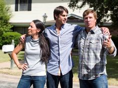 Hosts Chip and Joanna Gaines prepare to reveal to David Ridley his newly renovated home, as seen on Fixer Upper. (action)
