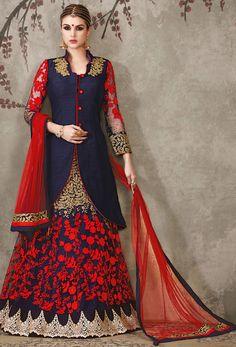 Semi #Stitched Blue Pure Silk Indo #Western #Lehenga #Choli #nikvik  #usa #designer #australia #canada #freeshipping #dress #wedding