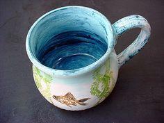 Goldfish bowl mug pottery kiln fired fun fish by TheRusticHome, $24.00