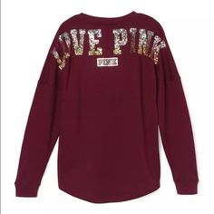 """Maroon varsity bling crew ❗️THIS LISTING IS FOR THE MAROON VARSITY CREW❗️ Brand new in the package. Maroon varsity """"love pink"""" blink crew neck . Over size. With the dog logo in the front. ✔️Mercari available   PLEASE NO RUDE COMMENTS ONLY COMMENT IF YOU'RE INTERESTED    ❌PRICE IS FIRM  ❌SERIOUS BUYERS ONLY                            ❌NO TRADES PINK Victoria's Secret Sweaters Crew & Scoop Necks"""