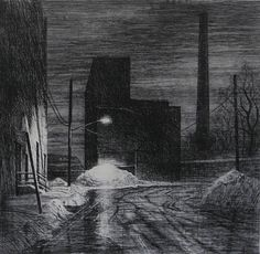 """Bill Murphy - Dusk  etching with drypoint on Paper  19"""" x 19"""""""