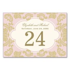 Pink, Ivory, Gold | Wedding Table Number Card