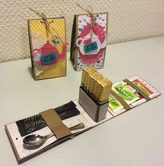 At yesterday's craft meeting at my house we've made this cute Merci gift box. My friend Ineke Ruesink gave me such an adorabl. Tea Riffic, Ideias Diy, Tea Gifts, Explosion Box, Diy Box, Creative Gifts, Creative Box, Little Gifts, Homemade Gifts