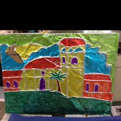 My favorite mission project. Use sharpies over string. Bold colors give a stain glass effect.