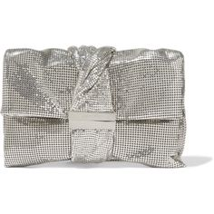 Jimmy Choo Chandra chainmail clutch ($2,295) ❤ liked on Polyvore featuring bags, handbags, clutches, silver, evening handbags, chainmail purse, pocket purse, chain mail purse and special occasion clutches