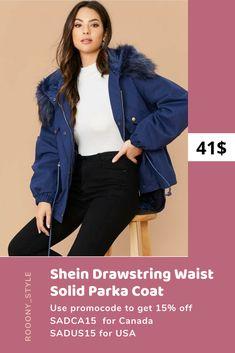 SHEIN women Drawstring Waist Solid Parka Coat blue jacket use promocode for 15% off