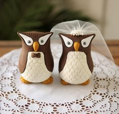 Owl wedding cake toppers