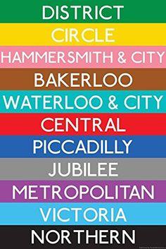 "ArtEdge London Underground Tube Lines Travel Poster Print, 18 x 12"" #ArtEdge #London #Underground #Tube #Lines #Travel #Poster #Print,"