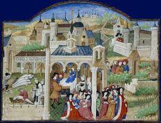 Illustration of the Decameron of Boccaccio The Decameron, Giovanni Boccaccio, Medieval Paintings, Medieval Manuscript, Illuminated Manuscript, Black Death, History Projects, Bnf, 15th Century