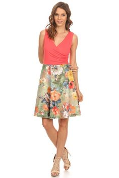 Watercolor Floral Dress in Coral