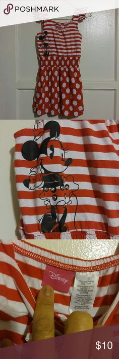 Disney Minnie Mouse Girls Dress Minnie Mouse red n white stripe top with red with white polka dot skirt part. 100% cotton. Disney Dresses Casual
