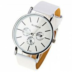 20921827f6e  4.15 WoMaGe Quartz Watch with Strips Indicate Leather Watch Band for Women  - White Watches Online