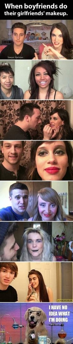 When boyfriends do their girlfriends make up LOL - http://www.jokideo.com/boyfriends-girlfriends-make-lol/