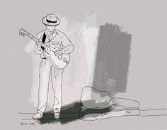 The #musician series 2014 #street #music  #illustration by ilana Graf illustrator #guitar