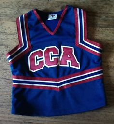 RED WHITE BLUE GLITTER REAL Cheerleader Uniform Shirt.  M/L. $13.00.