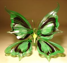 "Blown Glass ""Murano"" Art Figurine Insect Green and Black BUTTERFLY 