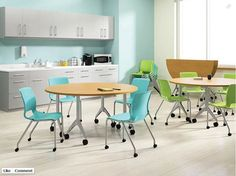 Colorful tables for office lunch room