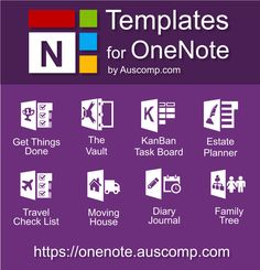 Medley of free templates for MS OneNote. The Vault KanBan Task Board Estate Planner Moving House Diary / Journal Family Tree and Get Things Done. Microsoft Office, One Note Microsoft, Microsoft Excel, Microsoft Classroom, Microsoft Windows, Onenote Template, Planner Template, Printable Templates, Templates Free