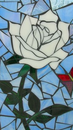 White Rose Mosaic Card Blank Greetings Card by LAMosaicGifts