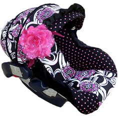 pink & black infant seat cover