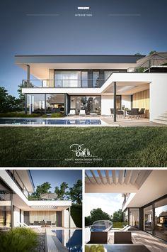 Modern Villa Design, Unique House Design, Dream Home Design, Modern Architecture House, Architecture Design, Modern Bungalow, Luxury Homes Dream Houses, Mediterranean Homes, Dream House Exterior