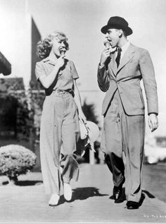 Ginger Rogers and dance director Hermes Pan on the set of Swing Time (1936)
