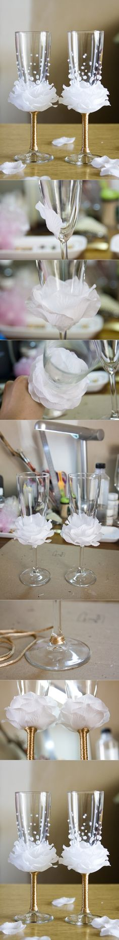 DIY Flower Bead Decorated Wine Glasses. Pretty for a princess party, too, if they can be made removable.