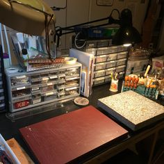 This is my workbench.  I have everything at my fingertips to carve leather and create findings for the jewelry we make.