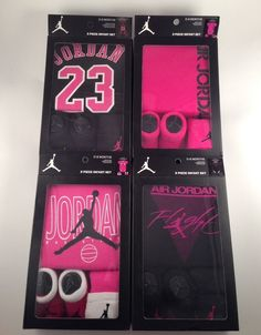 NIB NIKE AIR JORDAN BABY GIRLS 3 PIECE SET BODYSUIT CAP AND BOOTIES 0-6 MONTHS