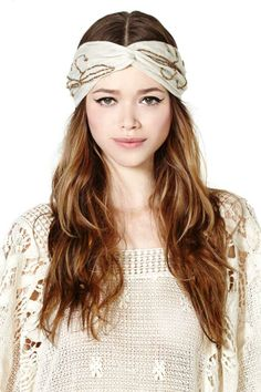 Wrap Party Headband. Liking the headband and crocheted sweater--think her highlights could be more walnut and not as brassy.
