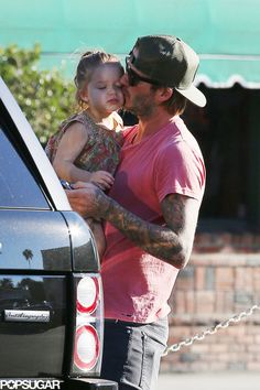 David Beckham and Harper Kissing