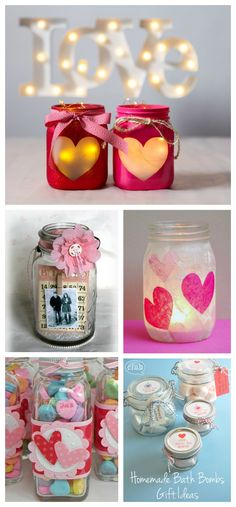 DIY Regalos de #San Valentín utilizando botellas o jarras de cristal.