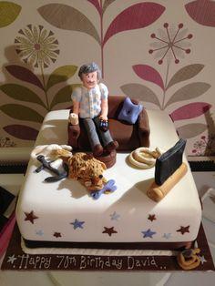 Man on sofa cake. www.creativecakesbykatherine.co.uk