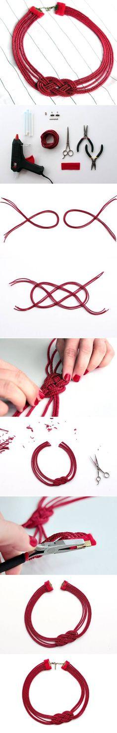 DIY Cord Necklace DIY Projects #necklacediy