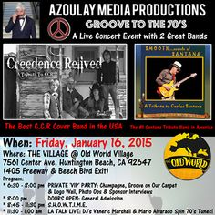 Groove in the 70's with CCR and Santana @ Old World Festival Banquet Hall 2015 January