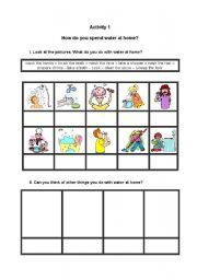 English worksheet: How do you spend water at home?