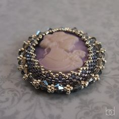 DIY Beading Tutorial Cameo Cabochon Brooch by DiasJewelryShop