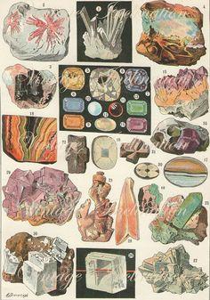 Vintage Gemstones Print Antique GEMS MINERALS STONES, precious print geology bookplate, print, art print, wall print wall art. $24.00, via Etsy.