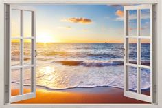 Huge 3D Vinyl Wall Decal Sticker by Bomba-Deal, Window Frame Style High-Quality Home Décor Art Removable Wall Sticker, 85cm X 115cm (Relaxing Dynamic Ocean Beach Dusk View): Amazon.co.uk: Kitchen & Home
