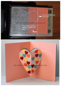 Pop-up card for Valentine's Day. Perfect kid's craft! Use the Stampin'up Heart Framelits collection. http://madewithpaper.wordpress.com/2014/02/13/pop-up-card-for-valentines-day/