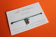 ♥ The message on the card is inspired by the charm and what it symbolises. For example : The Koala Wish Bracelets, Travel Gifts, Friendship Bracelets, Birthday Gifts, Insects, Trust, My Etsy Shop, Bring It On, Relax