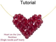 Beaded Crystal Puff Heart Valentine's Necklace Beading Pattern Tutorial by Lane Landry with Simple Bead Patterns