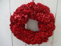 Red Wreath  Dried Hydrangea Wreath  Hydrangea Wreath Red   Red Hydrangeas  Valentine Wreath Home Decor   Christmas Wreath  Painted Wreath by donnahubbard on Etsy