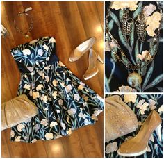 Our French Connection navy carnation print strapless dress is picture perfect for any Summer soiree! We added Sacha London taupe patent leather peep toe pumps and a Hobo natural snakeskin bag, then rocked it up a bit with a Mark Edge necklace and earrings!