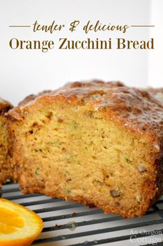 Orange Zucchini Bread Recipe (Whole Wheat & Honey Sweetened) When you make this healthy orange zucchini bread recipe, be prepared for raves! And baking it with whole wheat and only juice and honey as sweeteners makes it something you'll be proud to serve! Orange Zucchini Bread Recipe, Zuchinni Bread, Zucchini Bread Recipes, Quick Bread Recipes, Real Food Recipes, Cooking Recipes, Healthy Zucchini Bread, Breaded Zucchini, Breakfast Recipes