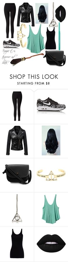 """""""No name for now"""" by hugo-mops ❤ liked on Polyvore featuring Miss Selfridge, NIKE, Warner Bros., RVCA, T By Alexander Wang, Lime Crime, Stila, harrypotter, black and tired"""
