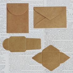 10 Tiny Maya Road DIY Kraft Note Envelopes; 2 Styles, for Scrapbooks, Cards, ETC