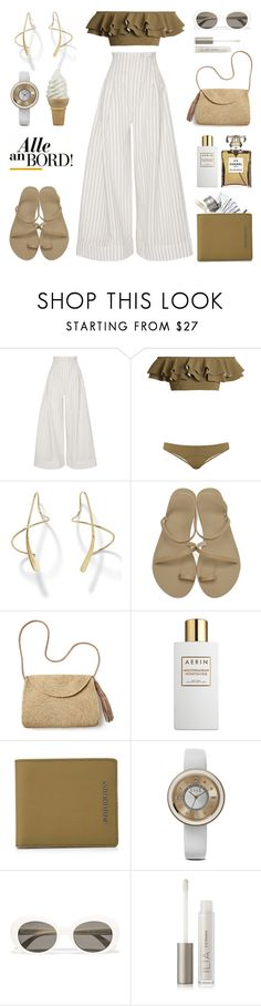 """Unbenannt #1079"" by fashionlandscape ❤ liked on Polyvore featuring Jacquemus, Lisa Marie Fernandez, Palm Beach Jewelry, Ancient Greek Sandals, Mar y Sol, Estée Lauder, Burberry, ELLE Time & Jewelry, Yves Saint Laurent and Ilia"